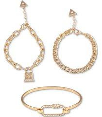 guess gold-tone 3-pc. set pave pretty punk bracelets