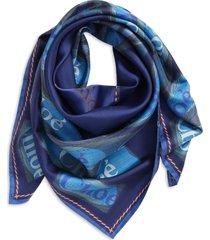 chloe logo square silk scarf in multicolor blue at nordstrom