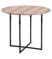 mesa de jantar redonda liz carvalho e amêndoa 90 cm
