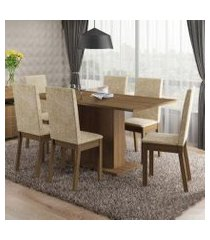conjunto sala de jantar susan madesa mesa tampo de madeira com 6 cadeiras rustic/imperial rustic