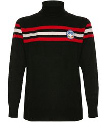 mc2 saint barth blended cashmere man sweater red and white stripes on front