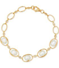 cultured freshwater pearl (7-7-1/2mm) & white topaz (1/5 ct. t.w.) oval link bracelet in 14k gold-plated sterling silver
