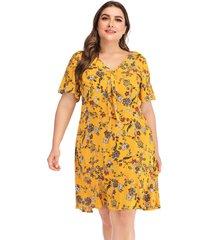 plus talla amarilla diseño calicó mangas cortas con cuello en v vestido