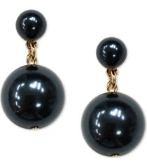 charter club gold-tone colored imitation pearl drop earrings, created for macy's