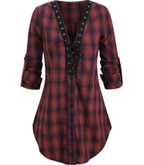 plaid lace-up roll sleeve tunic blouse