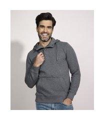blusão de moletom masculino texturizado com capuz e bolso cinza mescla escuro