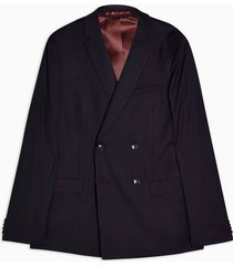 mens red burgundy super skinny fit double breasted burgundy suit blazer with notch lapels