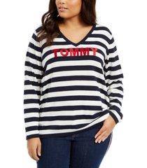 tommy hilfiger plus size ivy striped logo sweater