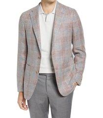 men's hickey freeman rosewood classic fit plaid linen & wool sport coat, size 44 short - pink