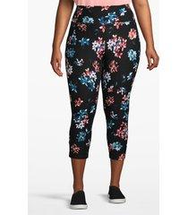 lane bryant women's active capri legging - crisscross back 22/24 black floral
