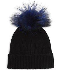 amicale women's fox fur pom-pom cashmere beanie - black
