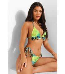 tropicana driehoekig bikini top met franjes, blue