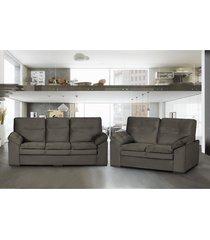 conjunto de sofã¡ 3 e 2 lugares cama inbox pequim 2,10mx1,55m tecido suede velusoft cafã© - incolor - dafiti