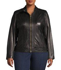 plus zip-front leather moto jacket