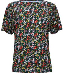 camiseta estampada flores de colores color negro, talla xs