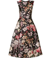 adam lippes floral a-line dress - black