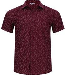 camisa estampado print hojas color vino, talla xs