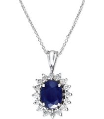 royalty inspired by effy sapphire (1-9/10 ct. t.w.) and diamond (3/8 ct. t.w.) oval pendant in 14k white gold, created for macy's