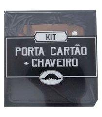 kit porta cartão e chaveiro stz texturizado preto