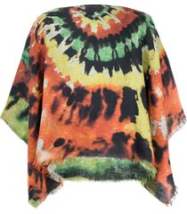 destin tie dye-print draped jacket - orange