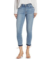 7 for all mankind women's cropped released-hem skinny jeans - beau blue - size 23 (00)
