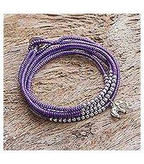 silver wrap bracelet, 'amazing elephant in purple' (thailand)