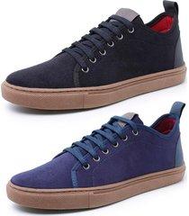 kit 2 sapatenis sandalo levit azul e preto