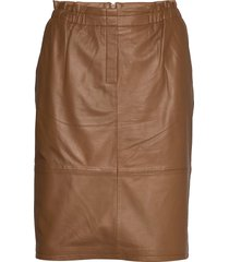 paia leather skirt knälång kjol brun minus