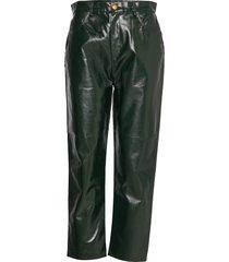 rodebjer esztia waxed pantalon met rechte pijpen groen rodebjer