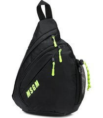 msgm neon-trimmed triangle backpack - black