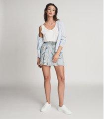 reiss yasmine - swirl printed mini skirt in blue/grey, womens, size 14