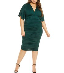 plus size women's kiyonna rumor ruched body-con dress, size 3x - green