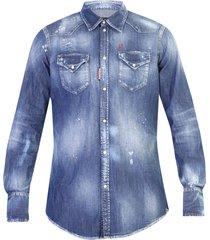distressed effect denim shirt