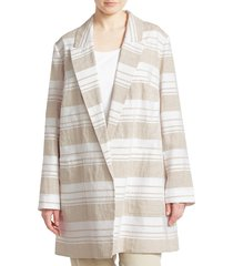 lafayette 148 new york women's plus malika stripe linen-blend jacket - white multi - size 1x (14-16)