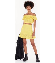 womens broderie awesome rufle mini skirt - yellow