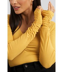 na-kd v-neck ruched ribbed body - yellow