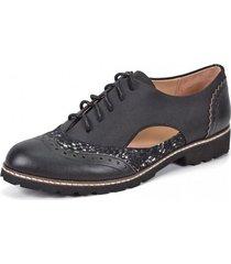 zapato cuero frisia negro bicolor degas
