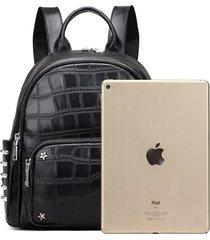 mochilas/ mochila de cuero real split mochilas de-negro