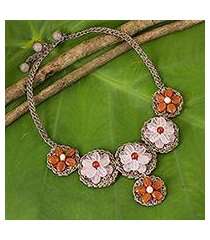 rose quartz and carnelian beaded flower necklace, 'pink daisy' (thailand)