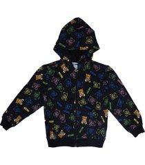moschino black full zip sweatshirt with bear print