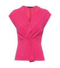 regata feminina decote v drapeado - rosa