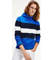 tommy hilfiger men's block stripe logo hoodie phthalo blue - xs