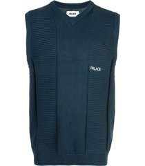 palace short-sleeve knitted vest - blue