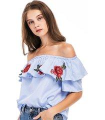2017 summer plus size classic striped slash neck women blouse off the shoulder