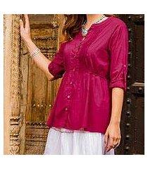 cotton tunic, 'cerise cheer' (india)