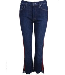 mother jeans insider crop step blauw