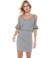 vestido forum curto off shoulders prata