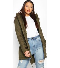 parka with faux fur trim hood, khaki