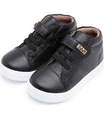tãªnis sneaker couro tututi velcro/cadarã§o - preto - preto - menino - dafiti