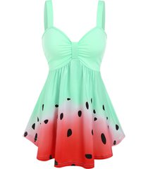 ombre watermelon pattern flare tank top